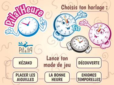 Application pour apprendre à lire l'heure PilalHeure (aperçu écran d'accueil)