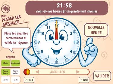 Application pour apprendre à lire l'heure PilalHeure (aperçu d'écran mode placer les aiguilles)